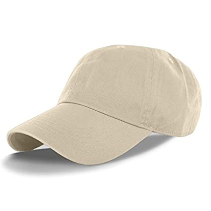 5ae0fc44df4 Image Unavailable. Image not available for. Color  Beige-100% Cotton  Adjustable Baseball Cap Hat Polo Style Washed Plain Solid Visor (