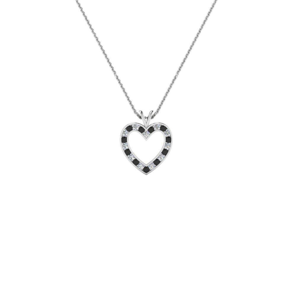 Ringjewels 1.98 Ct Round Black CZ Diamond Heart Pendant Necklace with 18 Chain in 14K Gold Plated .925