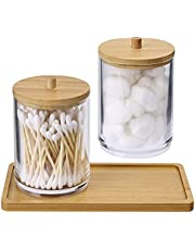 2 Pack Acrylic Qtip Holder Dispenser Bathroom Canisters with Bamboo Tray, Apothecary Jars Qtip Holder Bathroom for Cotton Ball, Cotton Swab,Q-Tips,Cotton Rounds and More