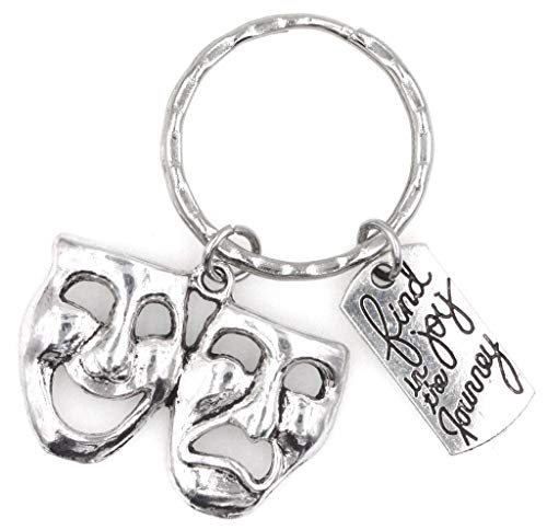 It's All About...You! Find Joy in The Journey Comedy Tragedy Mask Theatre Keychain 112X (Tragedy Theater Masks)