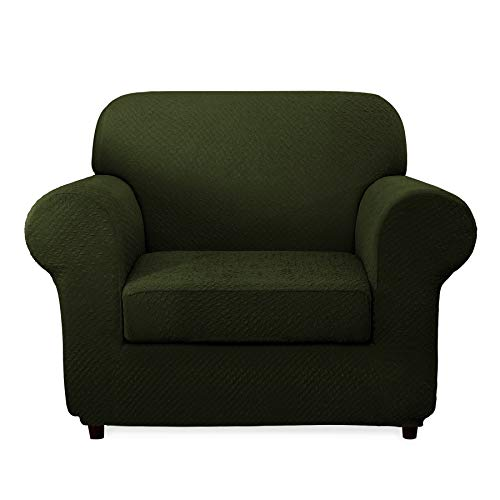 CHUN YI 2-Piece Sofa Covers Seersucker Jacquard Polyester Spandex Fabric Armchair Stretch Furniture Protector Tough Couch Slipcovers (Chair, Green)