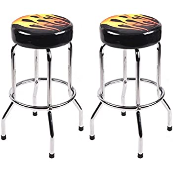 Amazon Com Costway 29 Quot Bar Stools Flame Round Padded Seat
