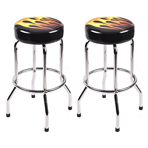 COSTWAY 29 Bar Stools Flame Round Padded Seat Retro Nostalgic Style Backless Chair Barstool, Black 2 x Stool