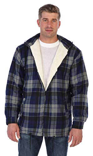 Gioberti Mens Sherpa Lined Flannel Jacket with Removable Hood, Navy/Gray, XXL