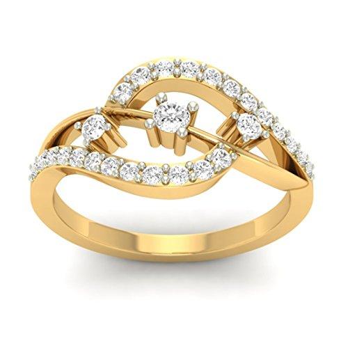18K Or jaune 0,43CT TW Round-cut-diamond (IJ | SI) en diamant
