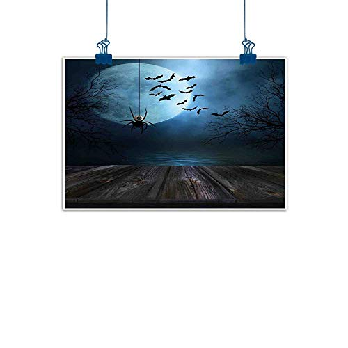 Sunset glow Artwork Office Home Decoration Halloween Decorations,Misty Lake Scene Rusty Wooden Deck Spider Eyeball and Bats Moonlight,Blue Brown for Living Room Bedroom 20