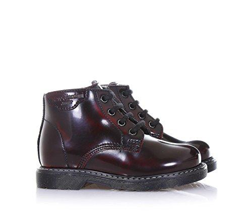 NERO GIARDINI - Bordeauxroter Stiefel aus Glanzleder, seitlich ein Reißverschluss, seitlich ein Logo, sichtbare Nähte und Gummisohle, Jungen