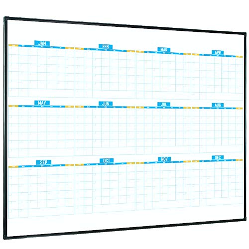 Lockways Magnetic Whiteboard Calendar 12 Monthly, Framed Dry Erase Board Calendar 48 x 36 Inch, Ultra-Slim Black Aluminium Frame