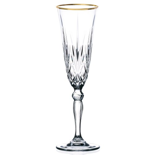 - Lorren Home Trends Siena Collection Crystal Flute Glass with Gold Band Design, Set of 4