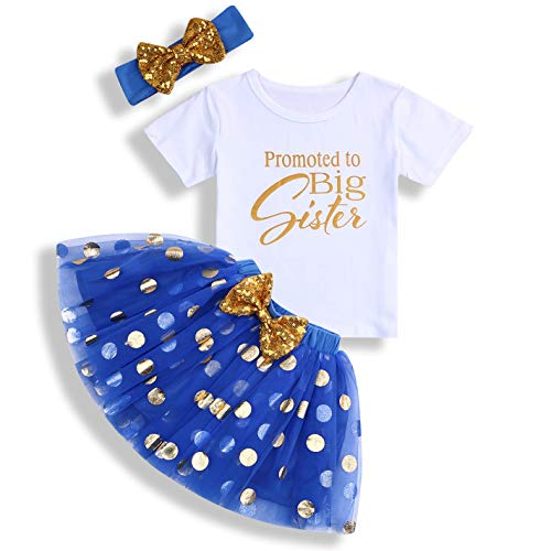 Toddler Baby Kid Girls Big Sister Outfits Short Sleeve T-Shirt Top+Tutu Skirt with Headband Clothing Set (White & Blue, 3-4 Years)