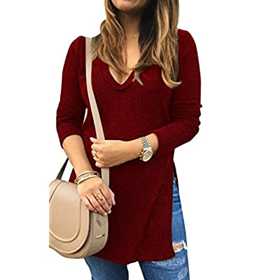 Hot XQS Womens V Neck Split Pullover Loose Knitted Sweater