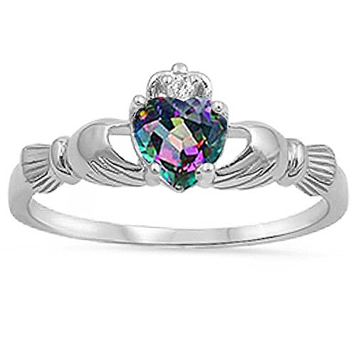 Irish Claddagh Rainbow Colored Cz Heart Ring Size -