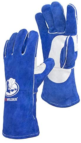 YESWELDER Leather Forge MIG Welding Gloves Heat Fire Resistant Welders Glove Blue-14 also Perfect for Grill/BBQ/Wood Stove/Oven/Fireplace/Cutting/Gardening