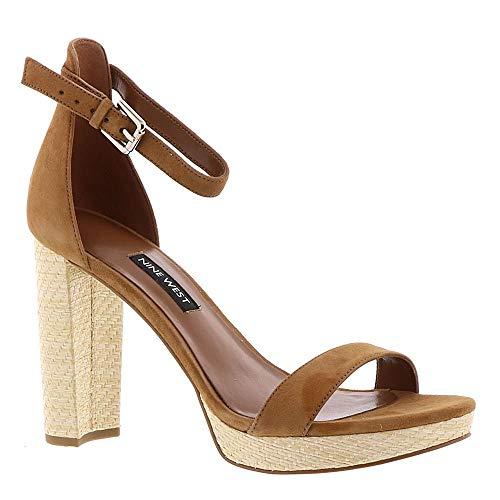 Nine West Women's Dempsey Platform Heel Sandal Dark Natural Suede 10 M US M