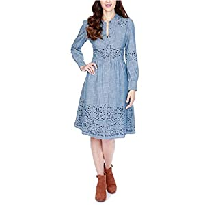 Lucky Brand Womens Embroidered Ruched T-Shirt Dress Blue 4