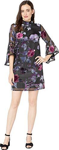 - Tahari by ASL Women's Velvet Burnout Shift Dress Black/Lilac/Rose 4