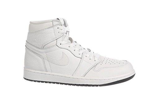 Nike Heren Air Jordan 1 Mid Basketbalschoen Wit, Zwart-wit