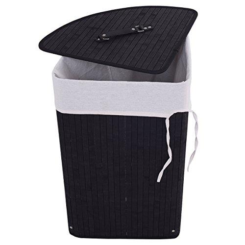 Giantex Corner Bamboo Hamper Laundry Basket Washing Cloth Bin Storage Bag Lid(Brown) (Corner Hamper)