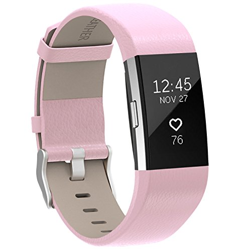 Pink Leather Band (For Fitbit Charge 2 Bands Pink, Henoda Leather Wristband for Fitbit Charge 2 Replacement Strap Women Men Large Small)