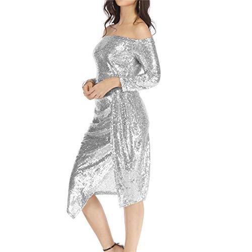 (RDTIAN Ladies Dress, Off Shoulder Bag Hips Open Collar Sequin Dinner Party Dress Silver)