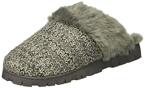 Dr. Scholl's Shoes Women's Sunday Scuff Slipper, Grey Sweater Knit, 6 M US
