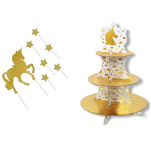 Unicorn Cupcake/Dessert/Snack stand and Unicorn and Star Decorative Snack Picks (Unicorn Stand)