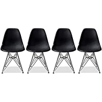 2xhome - Set of Four (4) Black - Eames Style Side Chair Chromed Wire Legs Eiffel Legs Dining Room Chair - Lounge Chair No Arm Arms Armless Less Chairs Seats Wooden Wood leg Wire leg