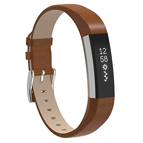 (Henoda Replacemnt Leather Bands Compatible with Fitbit Alta/Fitbit Alta HR, Brown Classic Genuine Leather Wristband, Small Large, No Tracker )