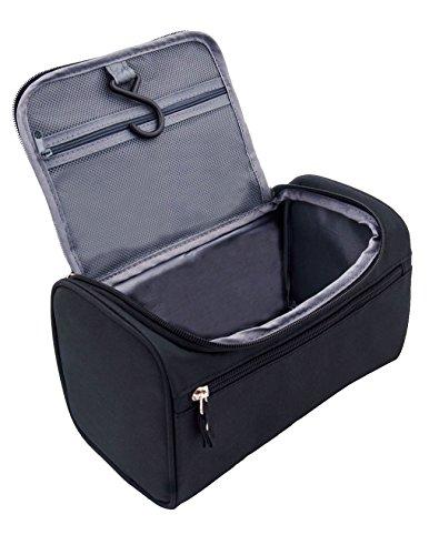Feeker Waterproof Toiletry Bag, Men's Travel Hanging Toiletry Kit Bag | Make up Cosmetic (Black Wash Bag)