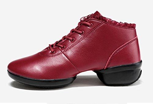 Carrée Chaussures Pleine Cuir Danse Peau Creux De Moderne Mou Femme Chaussures De De Fond Printemps Augmenté Rouge YouPue Danse 0HqRT5nw