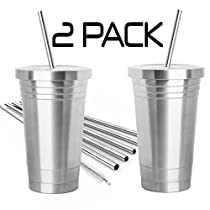 2 Pack STAINLESS STEEL TUMBLER (16oz) with 2 Stainless Steel Straws, Cleaning Brush & Dual Layer Insulation - Ideal Travel Tumbler To Keep Your Hot and Cold Drinks At TemperatureLonger