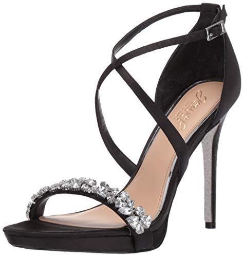 Badgley Mischka Jewel Women's DANY Heeled Sandal, Black Satin, 7.5 M US