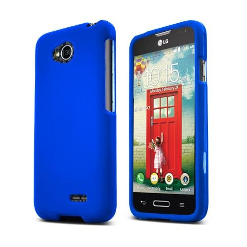(Generic LG Optimus L70 (Metro PCS) Slim Light Hybrid Snap On Non-Slip Matte Hard Case Protex Rubberized Rubber Coating Protective Case - Blue - Retail Packaging)