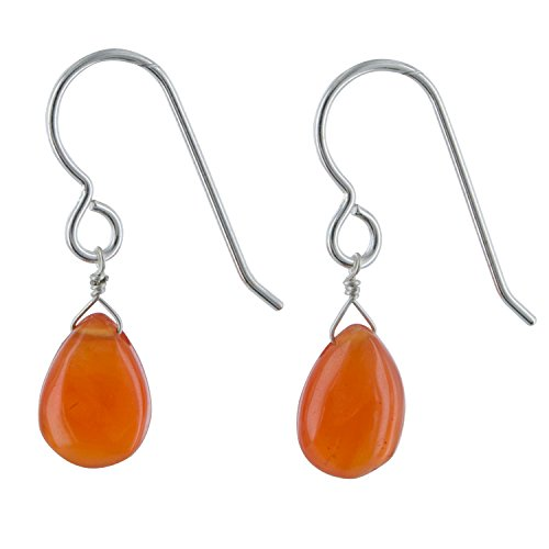 - Carnelien Gemstone Sterling Silver Chandelier Orange Earrings