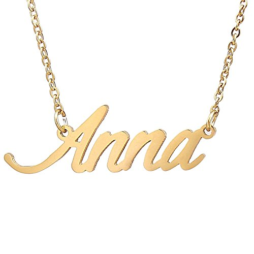 - HUAN XUN Gold Color Plated Initial Name Necklace, Anna