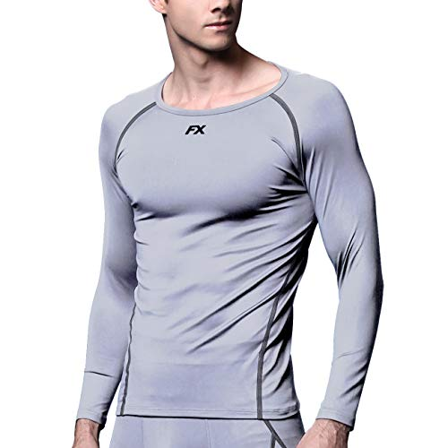 FITEXTREME Mens MAXHEAT Soft Fleece Long Johns Thermal Underwear Top LightGray L (Polyester Thermal Shirt)