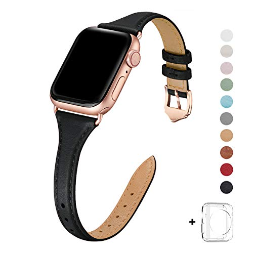 WFEAGL Leather Bands Compatible with Apple Watch 38mm 40mm 42mm 44mm, Top Grain Leather Band Slim & Thin Replacement Wristband for iWatch Series 4/3/2/1 (Black Band+Rose Gold Adapter, 38mm 40mm) ()
