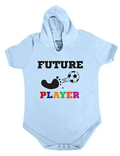 3 HOODIE BABY ROMPER SHORT SLEEVE ONESIE UNISEX FUTURE SOCCER PLAYER GIFT POLY BAGGED A&G BRAND (12-18 Months, Light (Printable Football Decorations)