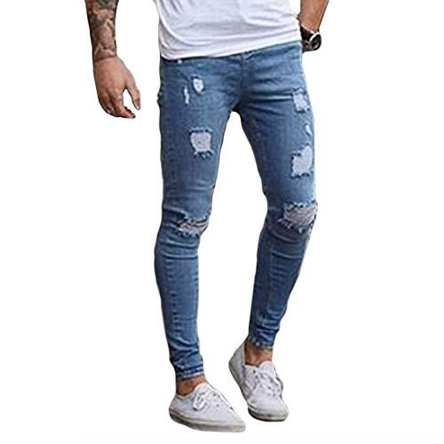Straight Tear Slim Hommes Fit Tight Clair Jeans Shabby Denim White Yefree De Mode Décontractée Turbine Hole Skinny Bleu Pour 7wYpOcqF