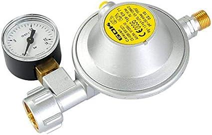 GOK – Regulador de gas con manómetro tipo EN71, 30 Mbar, 1,2 kg/h