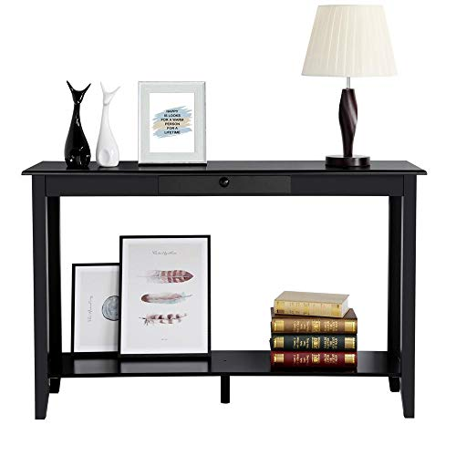 Yaheetech Sofa and Console Table with Drawer and Shelf for Living Room Entryway Table Black