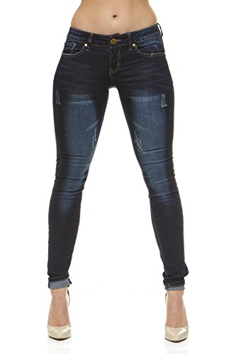 Classic Skinny Jeans for Women Slim Fit Stretch Stone Washed Jeans Junior Size 15 / Varsity Dark Blue Denim