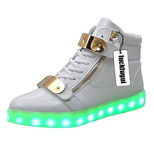 Crocodile High Top - luckfugui Men Women Metal High Top USB LED Light Shoes Flashing Sneakers WH43