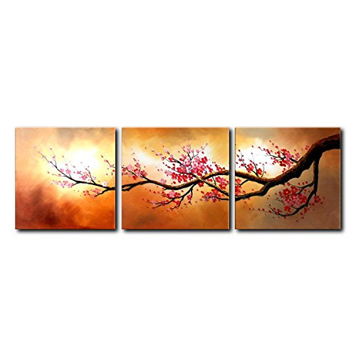 VASTING ART 3-Panel 100% Hand-Painted Oil Paintings Landscape Trees Floral Wintersweet Flowers Modern Abstract Artwork Stretched Wood Framed Ready Hang Home Decoration Wall Decor Living Room Bedroom