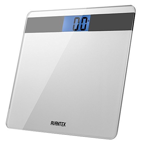 AVANTEK Precision Digital Bathroom Scale with Step-On Technology & Large Easy-to-Read Backlit LCD Precision 0.1kg/0.2lb, CE, ROHS Certificated and 1-Year Warranty