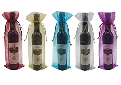 Ankirol 10pcs Sheer Organza Wine Bags 5.514.5 inch Baby Shower Wedding Favors Drawstring Pouches
