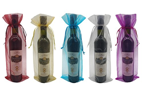 Ankirol 20pcs Sheer Organza Wine Bags 5.5x14.5 inch Reusable Simple Bottle Wrap Dresses Festive Packaging Baby Shower Wedding Favors Samples Display Drawstring Pouches (Wine Bottle Accessories)