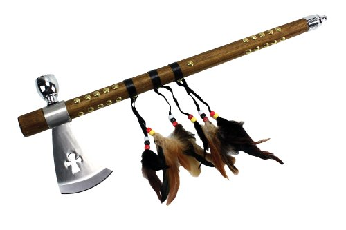 White Blades Navajo - Wuu Jau Co L-111 Native American Peace Pipe Tomahawk Axe, 18