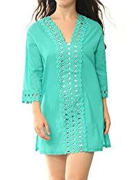 Allegra K Women's Scalloped Trim Crochet Panel Cover-Up Tunic Top