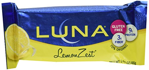 Luna Lemon Zest Whole Nutrition Bars for Women, 6 - 1.69 Oz Bars in Box, a Great Snack
